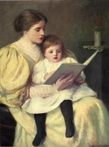 Mother and Child Reading Frederick Warren Freer 1849-1908